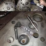 Crack repairing on cylinder heads and engine blocks